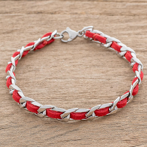 Reclaimed Red Leather Stainless Steel Wristband Bracelet 'Fiery Power'