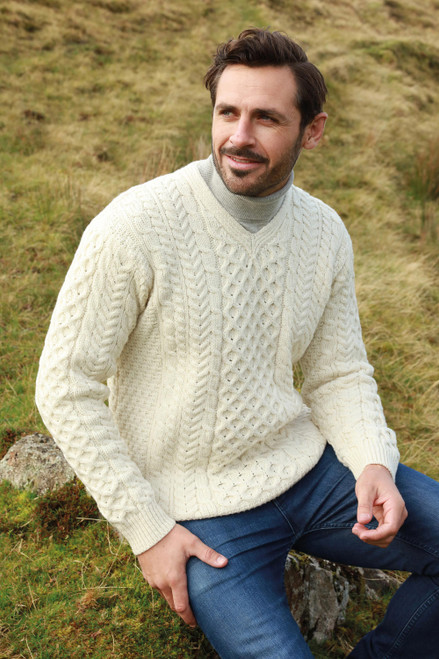 Men's Irish Aran Islands Wool V-Neck Sweater 'Cliffs of Inis Mor'