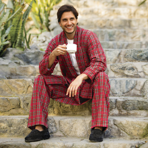 Men's Irish Brushed Cotton Flannel Robe 'High Glen'