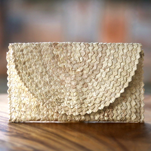 Handmade Ivory Palm Leaf Clutch Handbag from Indonesia 'Trance in Ivory'