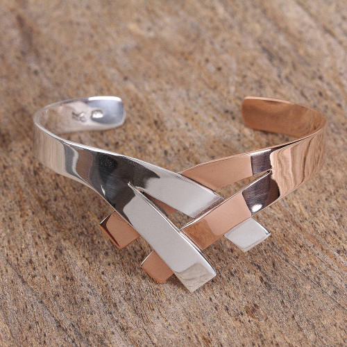 Sterling Silver and Copper Cuff Bracelet from Mexico 'Metallic Union'
