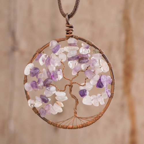 Amethyst Gemstone Tree Pendant Necklace from Costa Rica 'Amethyst Tree of Life'