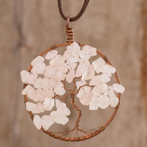 Rose Quartz Gemstone Tree Pendant Necklace from Costa Rica 'Taurus Tree of Life'