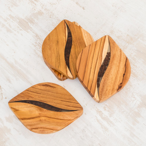 Coffee-Themed Teakwood Coasters from Costa Rica Set of 4 'Coffee Morning'