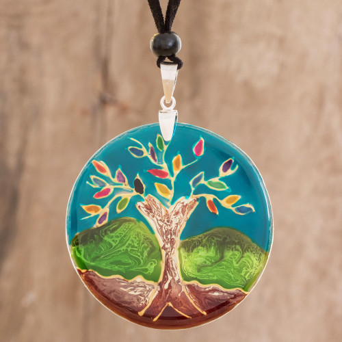 Tree-Themed Glass Pendant Necklace in Blue from Costa Rica 'Tree of Life at Night'