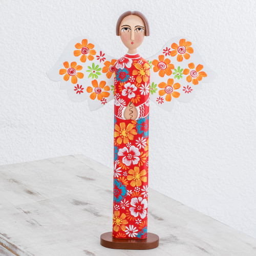 Hand Carved and Painted Colorful Floral Angel Wood Statuette 'Love and Guidance in Red'