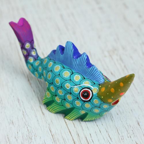 Wood Alebrije Swordfish Figurine from Mexico 'Swordfish Mystery'