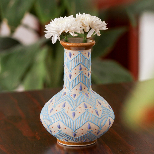 Handcrafted Blue and Ivory Chevron Motif Ceramic Flower Vase 'Chevron Tears'