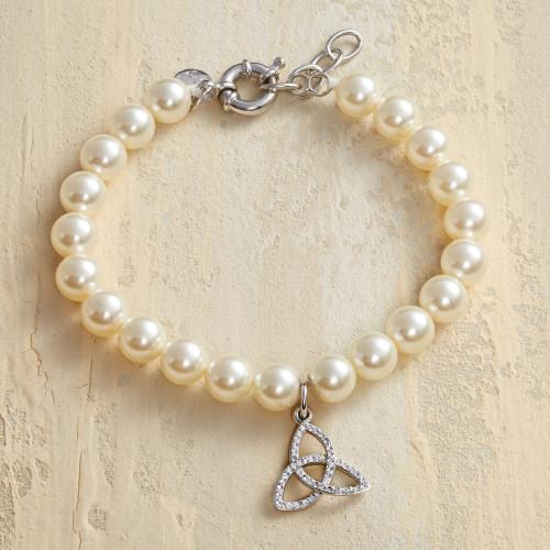 Trinity Knot Pearl Bracelet with Swarovski Crystals 'Eternal Trinity'