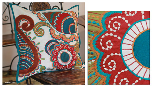 Hand Made Floral Patterned Cushion Cover 'Paisley Garden'
