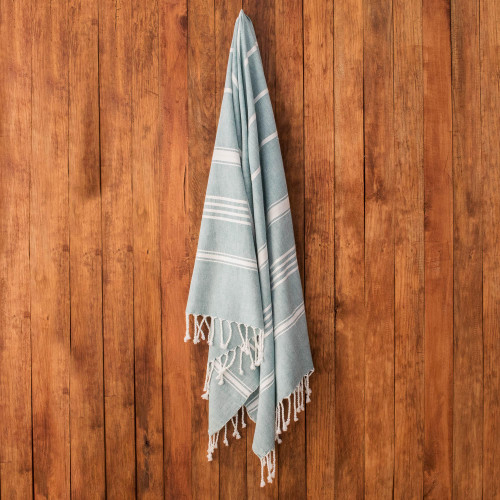 Striped Cotton Beach Towel in Teal from Guatemala 'Sweet Relaxation in Teal'
