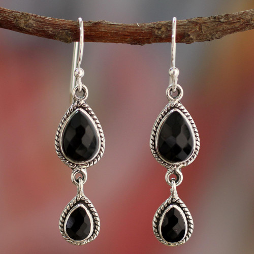 Onyx Earrings Handmade with Sterling Silver India Jewelry 'Midnight Teardrops'