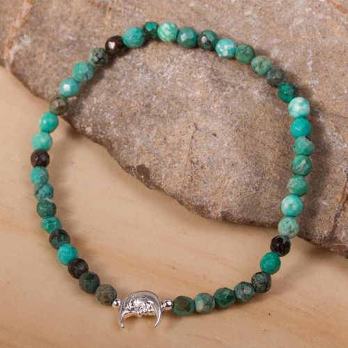 Crescent Moon Reconstituted Turquoise Beaded Bracelet 'Crescent of Beauty'