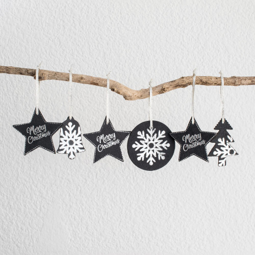 Black and White Leather Christmas Ornaments Set of 6 'Christmas in Black and White'