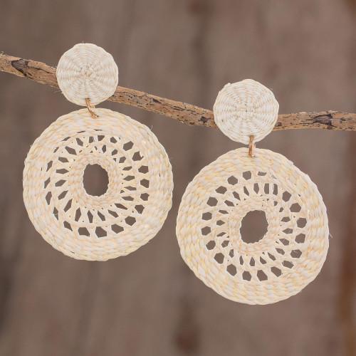Handmade Circular Natural Fiber Earrings in Alabaster 'Delightful Nature in Alabaster'