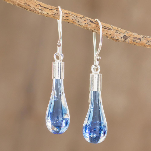 Handcrafted Art Glass Dangle Earrings from Costa Rica 'Blue Bay'