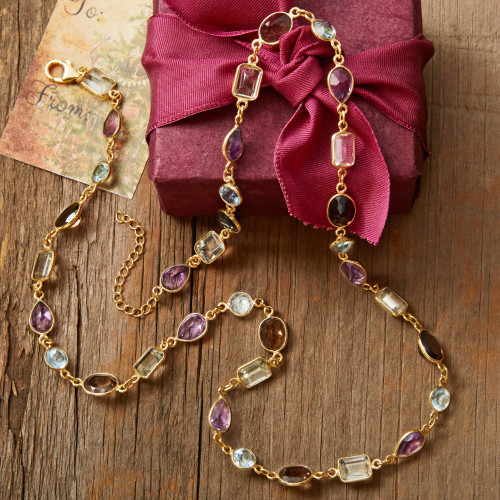 Gold Plated Gemstone Necklace with Prasiolite and Amethyst 'Golden Age'