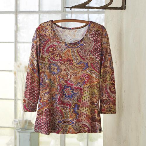 Women's Rayon Jersey Paisley Travel Shirt 'Perfect Paisley'