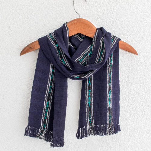 Handwoven Cotton Wrap Scarf in Navy from Guatemala 'Ocean Subtlety'