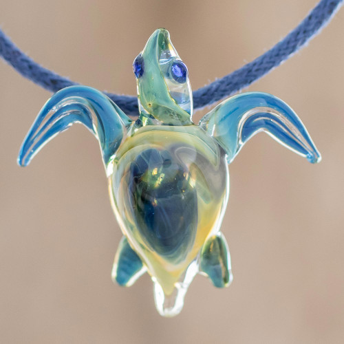 Blue and Yellow Art Glass Sea Turtle Pendant Necklace 'In the Lagoon'