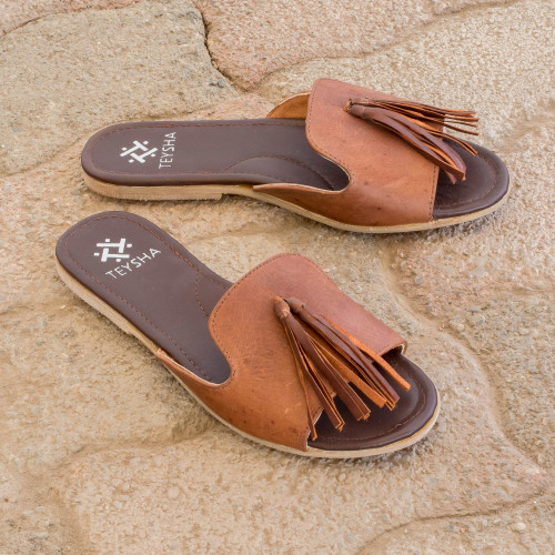 Handmade Leather Sandals with Tassels in Russet 'Russet Cruiser'