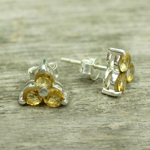 Hand Made Sterling Silver and Citrine Stud Earrings 'Chennai Stars'