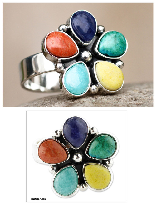 Artisan Crafted Multi-gem Sterling Silver Ring 'Andean Bloom'