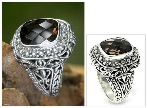 Smoky quartz ring 'Heirloom Treasure'