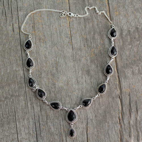 Indian Jewelry Glass and Sterling Silver Y Necklace  'Divine Night'