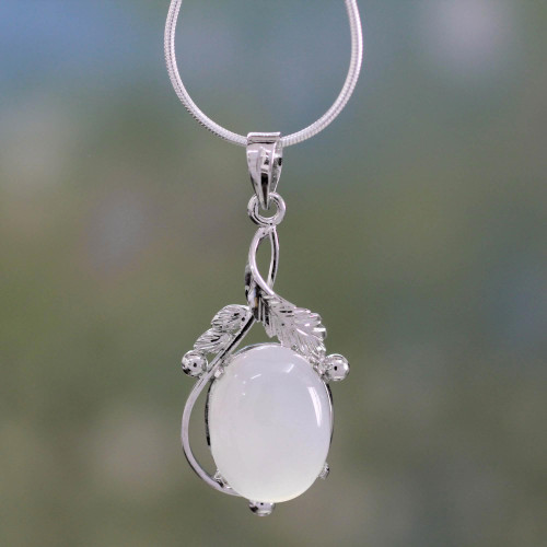 Chalcedony Necklace Sterling Silver Artisan Jewelry 'Moon Goddess Charm'