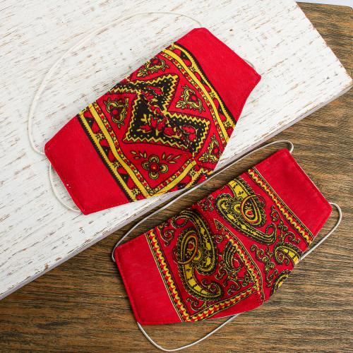 2 Double Layer Red  Yellow Bandana Print Face Masks 'Red Bandana'