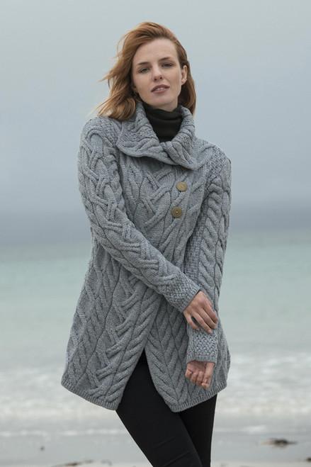 Irish Merino Wool Long Cardigan 'Cliff Walk'