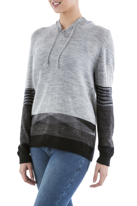 Black and Grey Striped Hoodie Sweater from Peru 'Grey Imagination'