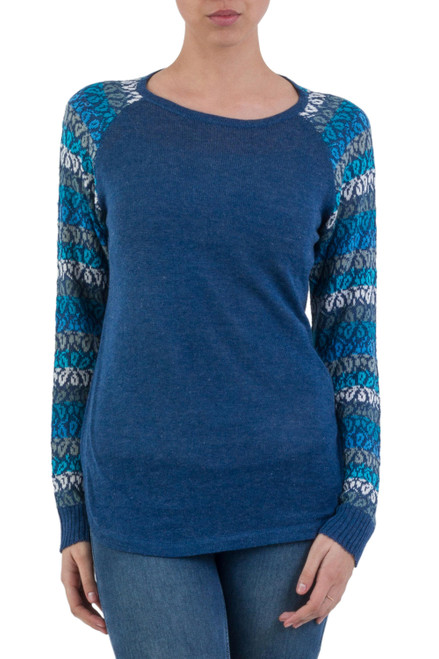 Tunic Sweater in Blue with Multi Color Floral Sleeves 'Garden Vine in Blue'