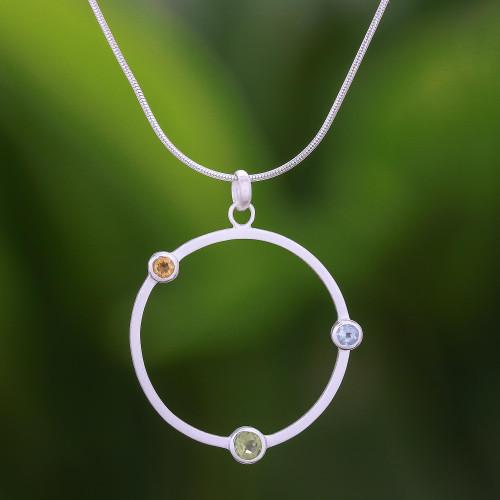 Peridot and Citrine Pendant Necklace 'Spring Rainbow'