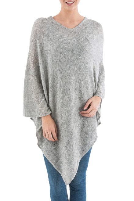 Long Silver Poncho with Zig Zag Pattern from Peru 'Silver Tulip Petal'