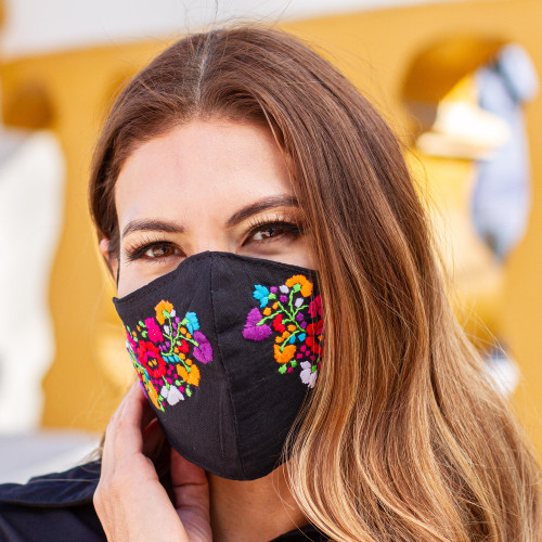 Washable Hand Embroidered Black Floral Face Mask 'Night Garden'