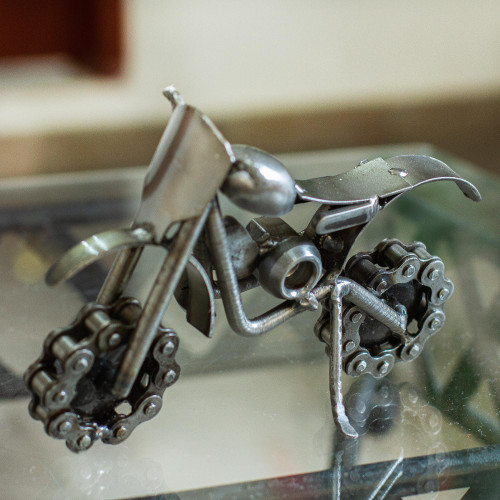 Handmade Rustic Dirt Bike Statuette 'Rustic Dirt Bike'