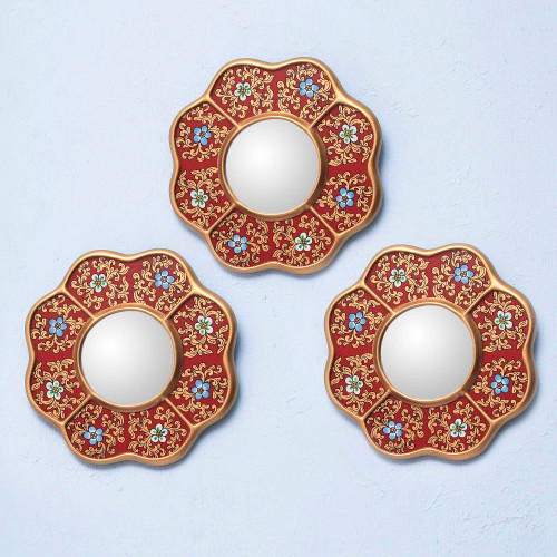 Set of 3 Collectible Reverse Painted Glass Mirrors 'New Spring'