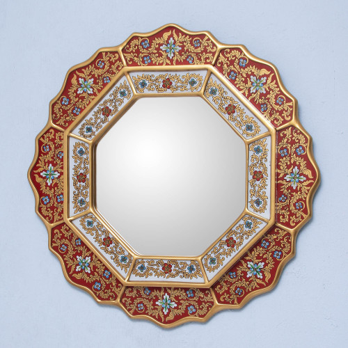 Collectible Floral Peruvian Reverse Painted Glass Mirror 'Red Star'