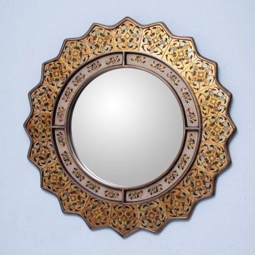 Fair Trade Reverse Painted Glass Oval Wall Mirror 'Marigold'