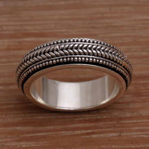 Men's Sterling Silver Spinner Ring Bali 'Welcome'