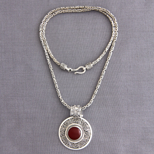 Sterling Silver and Carnelian Necklace from Indonesia 'Luxury'