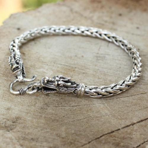 Sterling Silver Braided Chain Bracelet 'Loyal Dragon'