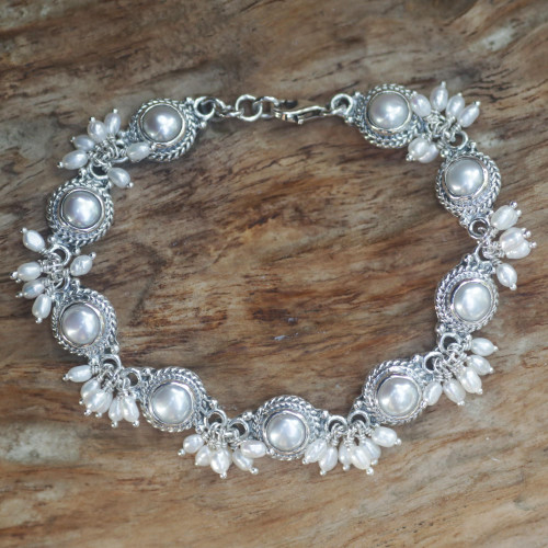 Sterling Silver Pearl Link Bracelet 'Moons and Shooting Stars'