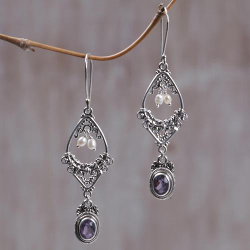 Amethyst and pearl flower earrings 'Empress'