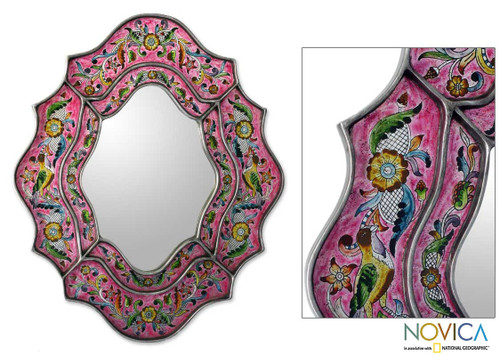 Hand Crafted Reverse Painted Glass Wall Mirror 'Wild Orchids'