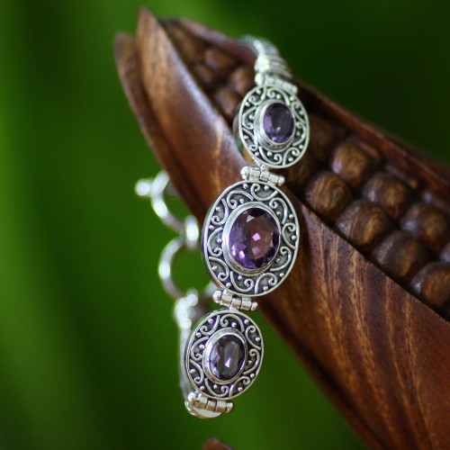 Amethyst Sterling Silver Link Bracelet 'Tradition'