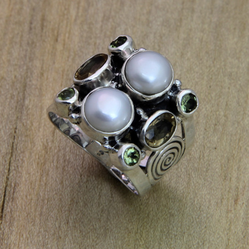 Fair Trade Sterling Silver and Pearl Ring 'Gentle Day'