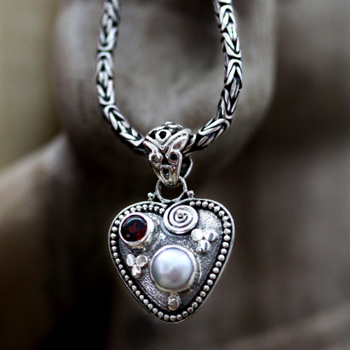 Sterling Silver and Pearl Heart Necklace 'So in Love'